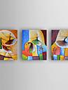 Pictat manual Abstract Orizontal,Modern Trei Panouri Canava Hang-pictate pictură în ulei For Pagina de decorare