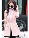 Costume / Tailleur Femme,Couleur Pleine Decontracte / Quotidien simple Printemps Automne Manche Longues Col de Chemise Normal Polyester