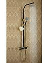 Antique Systeme de douche Douche pluie Position sur plancher with  Soupape ceramique Deux poignees trois trous for  Ti-PVD , Robinet de