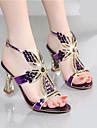Damă Sandale Pantof cu Berete PU Vară Casual Pantof cu Berete Toc Gros Auriu Mov Albastru 2.5 - 4.5 cm
