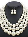 Set bijuterii Perle Euramerican Round Shape Bej Cafeniu Închis Rosu Set Nuntă Petrecere Ocazie specială Zilnic Casual 1set1 Colier 1