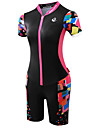 Malciklo Tenue de Triathlon Femme Manches courtes Velo triathlon/Combinaison TriathlonDesign Anatomique Resistant aux ultraviolets
