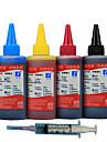 hp compatible encre 100ml canon, un paquet de 4boxes, box chaque differentes couleurs, noir, rouge, jaune, bleu
