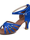 kvinnor dansskor latin sandaler dansskor damer flickor kubansk häl 5/7 blå Anpassningsbara (219)