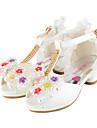 Fille-Mariage Habille Decontracte Soiree & Evenement-Blanc Rose-Talon Plat-Confort Nouveaute Flower Girl Chaussures-Chaussures de mariage-
