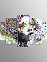 Impression sur Toile Portraits Abstraits Moderne,Cinq Panneaux Toile Toute Forme Imprimer Art Decoration murale For Decoration d\'interieur