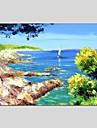 HANDMÅLAD Landskap Horisontell Panorama,Moderna Klassisk En panel Kanvas Hang målad oljemålning For Hem-dekoration