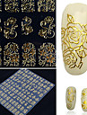 Autocollant a ongles 108 pieces autocollant metal retro creux totem or autocollant a ongles en argent