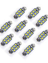 10 buc 31 mm 6 * 2835 smd LED condus auto bec bec alb dc12v