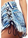 Damă Zvelt Talie Medie,Micro-elastic Blugi Pantaloni Ciucure Solid