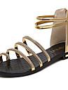 Damă Sandale Confortabili PU Vară Plimbare Confortabili Cataramă Toc Jos Auriu Negru Argintiu Sub 2.5 cm