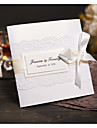 Împăturit în 3 Invitatii de nunta Invitații Stil modern Hârtie Perlă Fundă panglică Șireturi