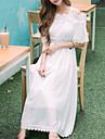 One-piece/Klänning Klassisk/Traditionell Lolita Vintage-inspirerad Elegant Prinsessa Cosplay Lolita-klänning Vit Enfärgat Spets Vintage