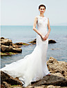 LAN TING BRIDE Trumpet / Mermaid Wedding Dress Beautiful Back Sweep / Brush Train Jewel Lace Tulle with Lace Ruche