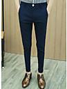 Bărbați Drept Simplu Talie Medie,Micro-elastic Costum Pantaloni Solid