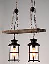 Lampe suspendue ,  Retro Peintures Fonctionnalite for Style mini Bois/Bambou Salle de sejour Interieur Couloir 2 ampoules