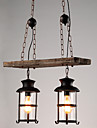 Lumini pandantiv ,  Retro Vopsire Caracteristică for Stil Minimalist Lemn / bambus Sufragerie La Interior Coridor 2 becuri