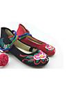 Damă Pantofi Flați Confortabili Pantofi brodate Țesătură Primăvară Toamnă Rochie Casual Flori Cârlig & Buclă Toc Plat Rosu Negru/Roșu Plat