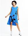 Femei Casul/Zilnic / Plus Size Vintage Larg Rochie-Imprimeu Fără manșon Asimetric Lungime Genunchi Albastru / Roșu / Alb / Gri Bumbac Vară