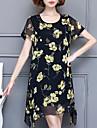 Damă Casul/Zilnic Plus Size Simplu(ă) Șifon Rochie-Floral Manșon scurt Rotund Sub Genunchi Poliester Vară Talie Medie Inelastic Mediu