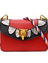 Femei umăr pungă pu toate anotimpurile eveniment / partid casual birou formal&Carieră lanț lanț snap roșu alb negru