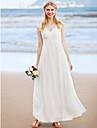 LAN TING BRIDE Linha A Vestido de casamento - Classico Pretissimos Ate o Tornozelo Decorado com Bijuteria Chiffon comApliques Cruzado