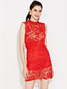 dantelă roșu alb rochie neagră de femei / /, mini sexy sta guler fără mâneci