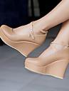 Femme Chaussures Polyurethane Printemps Ete Confort Chaussures a Talons Talon Compense Bout rond Avec Pour Decontracte Noir Rose Amande