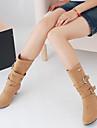 Femme Chaussures Polyurethane Automne Hiver Confort Bottes Gros Talon Bout rond Avec Pour Decontracte Noir Gris Jaune