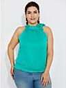 Femei Stil Nautic Bluză Casul/Zilnic Plus Size / Șic Stradă,Mată Fără manșon Vară-Alb / Negru / Verde Mediu Poliester