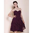 Lanting Bride® Ke kolenům Šifón Šaty pro družičky - A-Linie / Princess Bez ramínek / Srdce Větší velikosti / Malé s Boční řasení