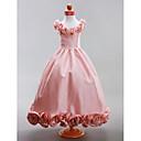 Lanting nevjesta A-kroj / Princeza Do poda Haljina za djevojčicu s cvijećem - Taft Bez rukava Duboki izrez s Drapirano / Cvijeće
