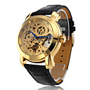 男性 スケルトン腕時計 自動巻き 透かし加工 / 模造ダイヤモンド PU バンド ブラック ブランド