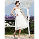 A-Linie Princess Svatební šaty - Elegantní & moderní Šaty na hostinu Malé bílé Krajka K lýtkům Bez ramínek Krajka s Šerpa / Stuha