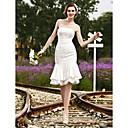 Lanting Bride® Mořská panna Drobná / Nadměrné velikosti Svatební šaty - Elegantní & moderní / Šaty na hostinu Průsvitné Ke kolenůmBez