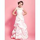 Lanting Bride® Na zem Krajka / Satén Šaty pro malou družičku A-Linie / Princess Kopeček Přirozený sKrajka / Nabíraná sukně / Šerpa /