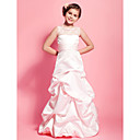 Lanting Bride® フロア丈 レース / サテン ジュニアブライドメイドドレス Aライン / プリンセス ラウンドネック ナチュラル とともに レース / ピックアップスカート / サッシュ/リボン / フリル