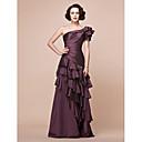 Lanting Bride® A-Linie Větší velikosti / Malé Šaty pro matku nevěsty Na zem Krátký rukáv Taft - Aplikace / Korálky / Volánky / Boční