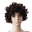 キャップレス100%の人間の毛髪の自然な黒のショート美しいカーリーウィッグ
