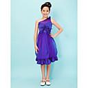 Princeza jedno rame koljeno duljine satena juniorska djeveruša haljina