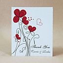 Thank You Card - Red Flowers - Set Of 50