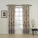 2つのパネルが植物紫色のベッドルームポリエステルパネルカーテンドレープ花