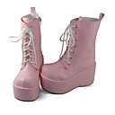 Pink PU Leather 10cm Platform Punk Lolita Martin Boots with White Shoelace