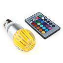 E26/E27 3 W 1 High Power LED 300 LM RGB/Color-Changing Remote-Controlled Globe Bulbs AC 85-265 V