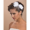 splendido da sposa in tulle con copricapo di piume e strass