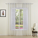 Two Panels Modern Solid White Living Room Sheer Curtains Shades