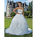 Lanting Bride® ボールガウン 小柄 / 大きいサイズ ウェディングドレス - クラシック/タイムレス スパークル&シャイン カテドラルトレーン スイートハート オーガンザ / サテン とともに