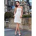 Lanting Bride® Pouzdrové Drobná / Nadměrné velikosti Svatební šaty - Elegantní & moderní / Šaty na hostinu Malé bílé Ke kolenůmBez