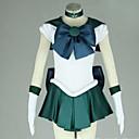 Inspirirana Sailor Moon Sailor Neptune Anime Cosplay nošnje Cosplay Suits Kolaž Bijela / Zelena Kratki rukav Haljina / Kravata