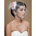 piuma splendido con copricapo di tulle rosa, fiori di nozze sposa